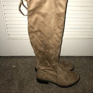 Knee high beige suede boots
